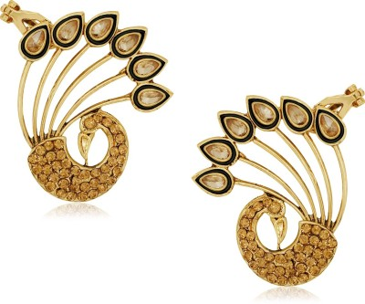 Spargz Peacock Design Ear Cuff Studded with LCT Color Stone Alloy Cuff Earring