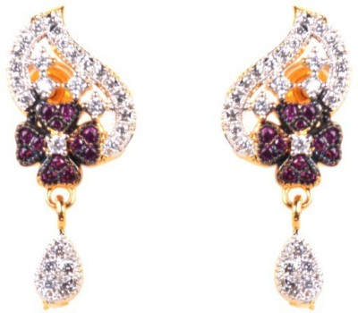 Dipshi Mullti Colour American Diamond Gold Plated Jewellery Copper Drop Earring