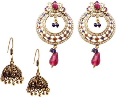 MK Jewellers Victoria pink blue & Oxidized Earring Combo Brass, Copper Earring Set