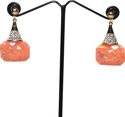 Chooz Designer Studio Golden Studed Sparkling Peach Alloy Drop Earring
