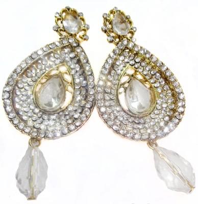 SB Fashions white diamond earrings Brass Drop Earring