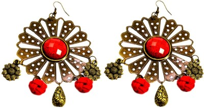 Krishna Mart A Pair Of Indian Brass Floral Danglers Earrings Brass Dangle Earring
