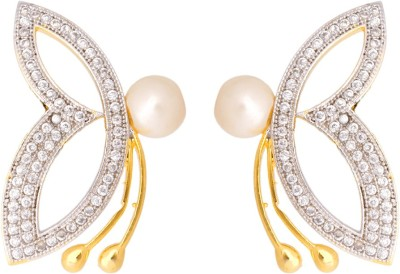 Abhijewels Cubic Zirconia, Pearl Alloy Stud Earring