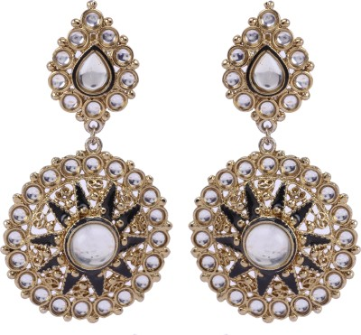 Maisha Oxidised Round Black & Golden Decked With White Stones Alloy Drop Earring