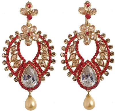 Hotpiper Artistic Red Cubic Zirconia, Pearl Alloy Chandbali Earring