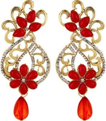 Fabula Gold, White & Red Zircon American Diamond AD CZ & Pearl Traditional Ethnic Jewellery Filigree Drop for Women, Girls & Ladies Metal Dangle Earring
