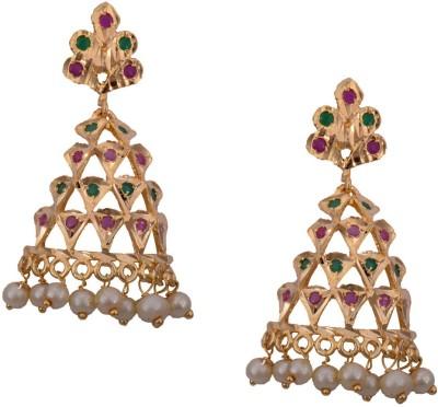 Mahaveer Pearls Chandelier Style Brass Drop Earring