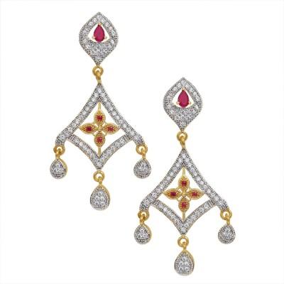 Kolkata Market Love Forever Cubic Zirconia Brass Earring Set