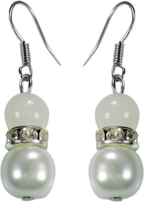 Crystals & Beads Opal White Colour Round Moonball & White Pearl with Diamond Spacer Acrylic, Glass, Crystal Dangle Earring
