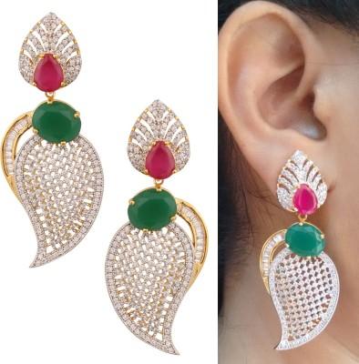 Swasti Jewels Elegant Zircon Ethnic Traditional Ruby Metal Drop Earring
