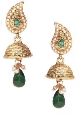 Royal Bling Pearl Arounds Green Alloy Jhumki Earring