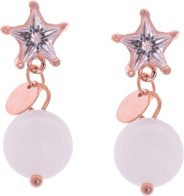 Sparkling Drop Spring Sparkle Cubic Zirconia Brass Drop Earring