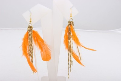 ChicKraft Beautiful Feather Inspired by Nature (Orange) Alloy, Metal Tassel Earring