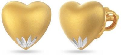 VelvetCase Matt Gold Heart Stud Earrings Silver Stud Earring