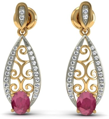 R S Jewels Creative Designs Yellow Gold 18kt Diamond, Ruby Drop Earring