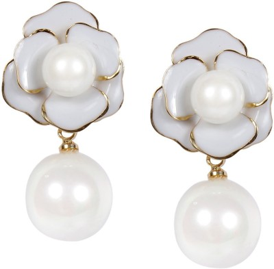 Muchmore Cute Small Daily Wear Pearl Copper Drop Earring