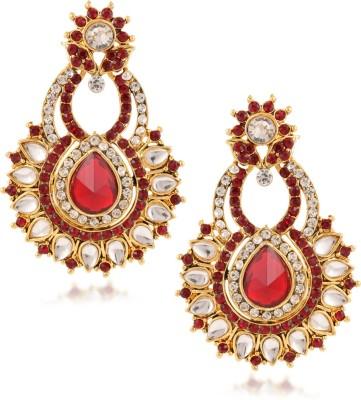Fashionaya Red Moon Cubic Zirconia Alloy Drop Earring