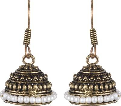 SAADGI Classy Gold Plated White Beads Beads Alloy Jhumki Earring