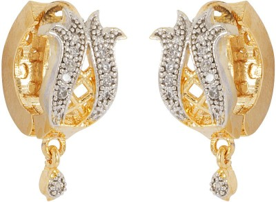 Voylla Precious Classic Embellished Cubic Zirconia Sterling Silver Hoop Earring