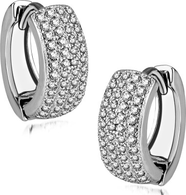 Om Jewells Duality Halo Cubic Zirconia Sterling Silver Huggie Earring