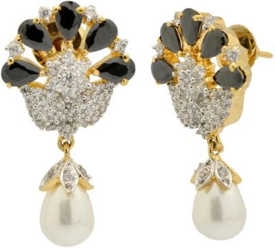 YugshaJewels Elegant YJE-1418 Quartz, Pearl, Cubic Zirconia Brass Drop Earring
