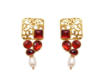 Ratnakar Squere carving with maroon stone Copper Stick-on Earring