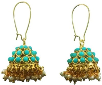 Deco Junction Blue Jhumki with Pearl Alloy Jhumki Earring