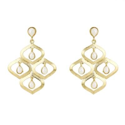 BeBold Drop Pearl Large Brass Drop Earring