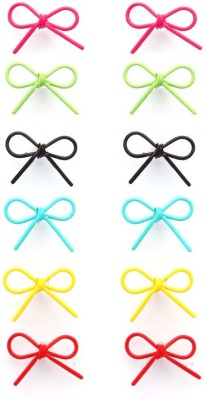 Madclozet Bright Bow Metal Earring Set