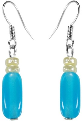 Crystals & Beads Turquoise Blue Colour Oval Moonball & White Pearl Bead Acrylic, Glass, Crystal Dangle Earring