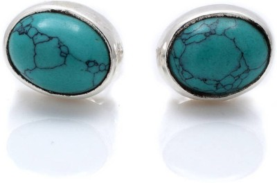 Albeli Impex Princess Cut Turquoise Silver Stud Earring