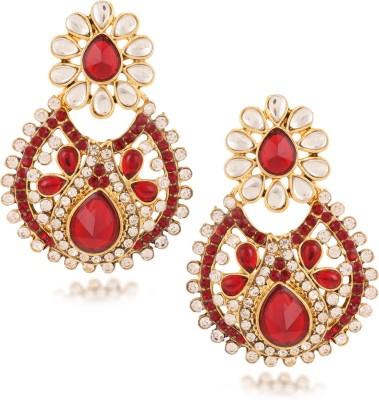 Fashionaya Red Pearl Cubic Zirconia Alloy Drop Earring