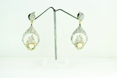 Chouhan Stylish Chandbali pearl Metal Drop Earring
