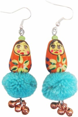 Juhi Malhotra Orange And Aqua Doll Wood Drop Earring