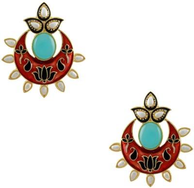 Orniza Pearl Border Aqua and Black Stone Earrings Brass Drop Earring