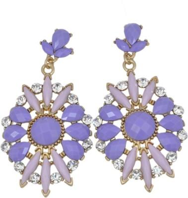 WoW Purple & Lavendar Resin Crystal Alloy Drop Earring