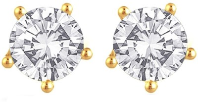 Enzy Golden Solitare Zircon Copper Stud Earring