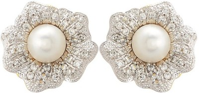 Kimatra Classic Cz with pearl earring Cubic Zirconia Alloy Stud Earring