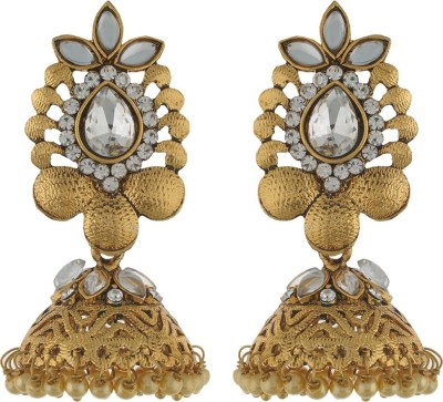 Dimple Creation stone studded Alloy Jhumki Earring