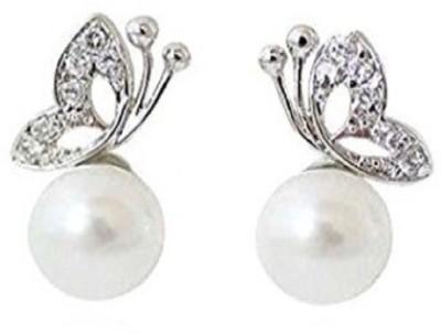 Stile White Pearl Alloy Stud Earring