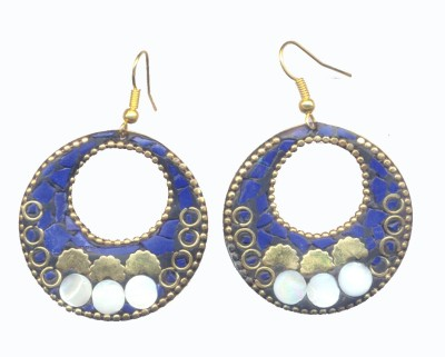 Pearls India Circle Blue Metal, Lac Dangle Earring