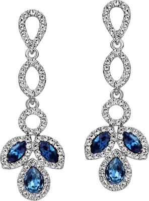 Wearyourfashion Blue Leaf Royale Swarovski Crystal Alloy Drop Earring