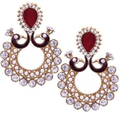 Grand Jewels Mayur Maroon Alloy Chandbali Earring