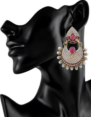 Royal Bling Leafy Royal Pealing Metal Chandbali Earring