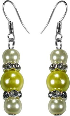 Crystals & Beads Citrine Yellow Colour Round Pearl & White Pearl Bead with Diamond Spacer Acrylic, Glass, Crystal Dangle Earring