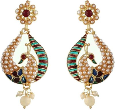 Chrishan stylish peacock Alloy Chandbali Earring