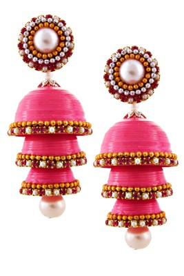 BigCart Hancrafted Pink Triple Jhumka Brass, Copper Jhumki Earring
