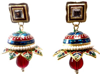 Shiv Kutumb Meenakari Metal Jhumki Earring