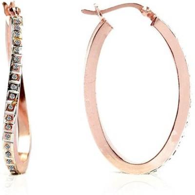 LeCalla CZ Stone Modern Rose Gold Sterling Silver Hoop Earring