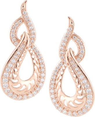 Beautiart Pink Gold Light Weight Cubic Zirconia Alloy Drop Earring
